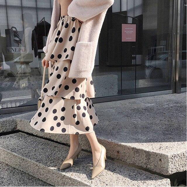 Femmes taille haute en mousseline de soie jupe printemps nouveau femmes doux à pois imprimé fatigué gâteau jupes noir blanc kaki Midi a-ligne jupes