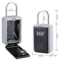 Key Box Safe Wall Mounted Key Safe Storage Box Lock Waterproof with Removable Shackle Indoor Outdoor Padlock Boxes