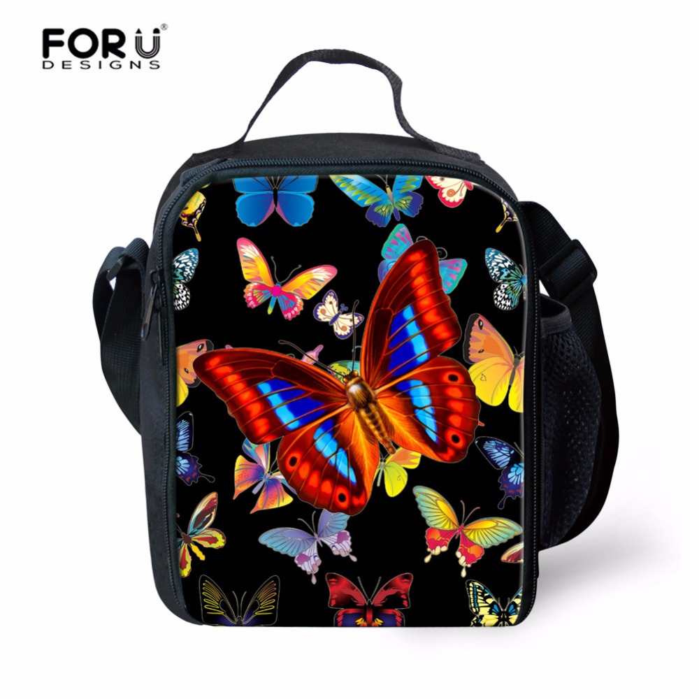 FORUDESIGNS Cute Butterfly Insulated Lunch Bags for Kids,Small Kawaii Thermal Food Lunch Pack Box Women Children Picnic Travel