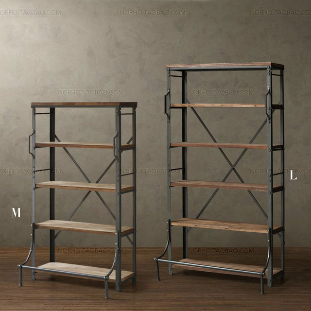 loft pays d 39 am rique r tro mini re bois fer forg plateau biblioth que affichage de. Black Bedroom Furniture Sets. Home Design Ideas