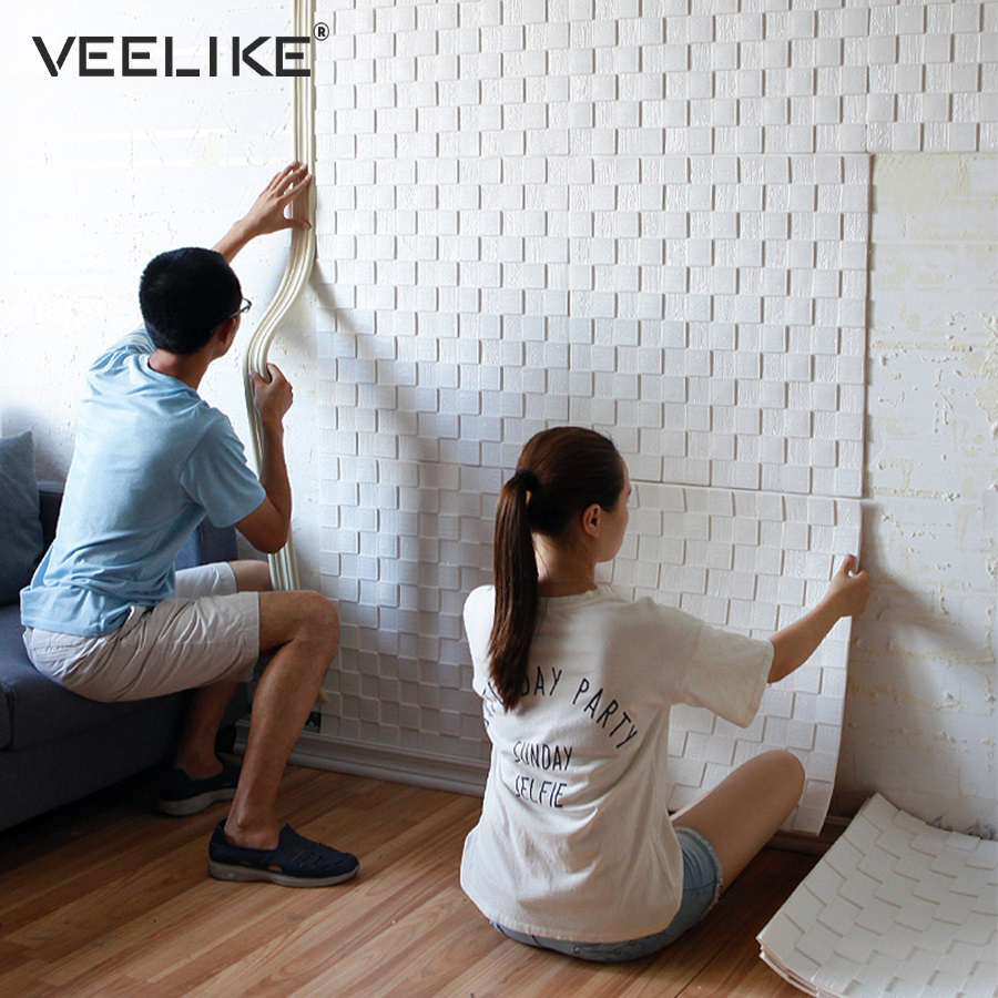 DIY Self Adhesive 3D Wall Stickers Bedroom Decor Foam Mosaic Room Decor Wallpaper Wall Decor Living Wall Papers For Kids Room