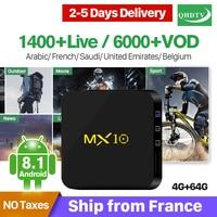 French IPTV MX10 Android 8.1 Smart TV BOX RK3328 4G 64G IPTV Europe France Italia Netherlands Belgium Arabic IPTV Set Top Box