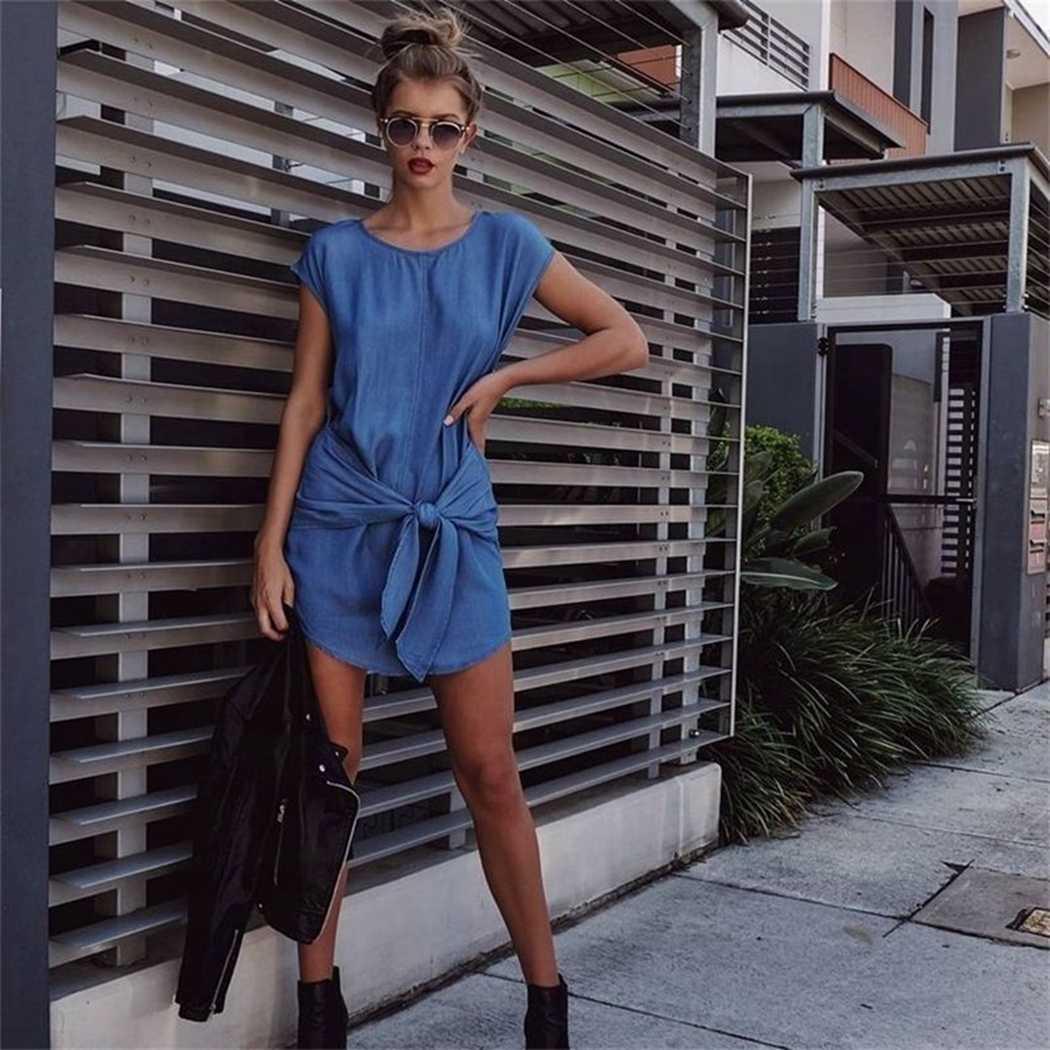 2c782c78dde 2018 New Arrival Summer Casual Women Denim Dress Fashion Sleeveless Bow  Lace Up Mini Dress Loose