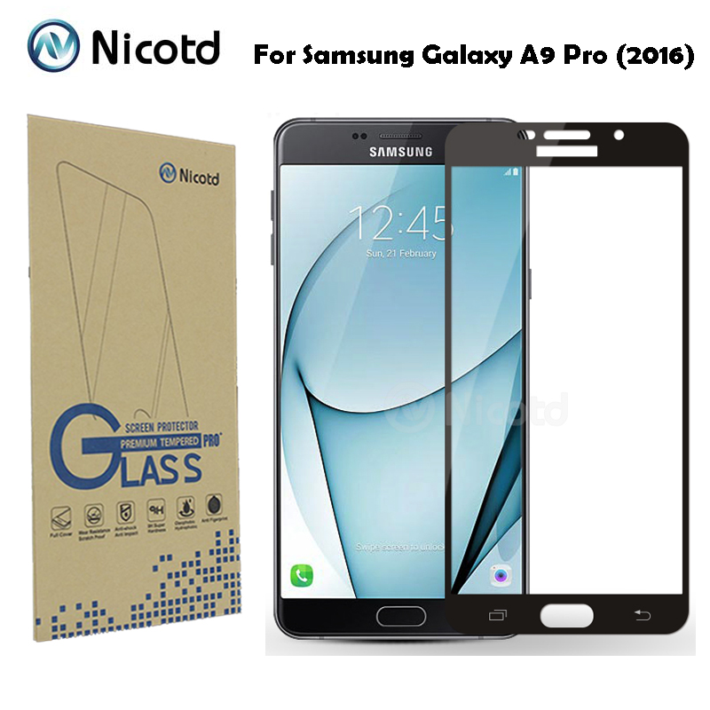 Nicotd Full Cover Tempered Glass For Samsung Galaxy A9 Pro 2016 (Duos) Dual Sim 6.0Anti-Shock Screen Protector Protective Film
