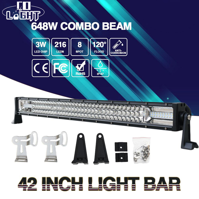 Co light 648w 42inch led light bar offroad combo beam lights for co light 648w 42inch led light bar offroad combo beam lights for auto 4x4 12v 24v aloadofball Image collections