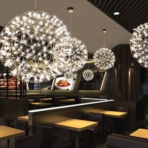 Image 2 - 現代の創造的な花火ペンダントライトバーledステンレス鋼ボール用のランプハンギングコーヒーカフェレストランlamparas光沢デコ
