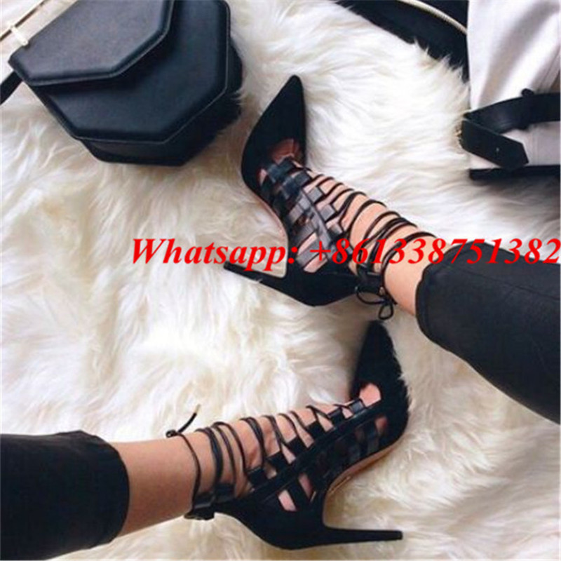 Sexy Black Lace Up Caged Cutouts Pumps Pointed Toe Front Strappy Back Zip High Heels Dress Ladies Shoes Woman Gladiator Sandals