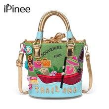 55771ed4bb7a1 IPinee جديد وصول أزياء النساء أكياس العلامة التجارية الرباط دلو حقيبة كتف  الكرتون تصميم السيدات حقائب