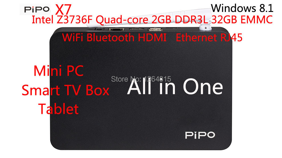 PiPo X7 Mini PC Smart TV BOX Tablet Dual-Boot intel Z3736F Quad-core 2GB DDR3L 32GB Windows 8.1 WIFI Ethernet Bluetooth 4.0 HDMI - GUGU home store