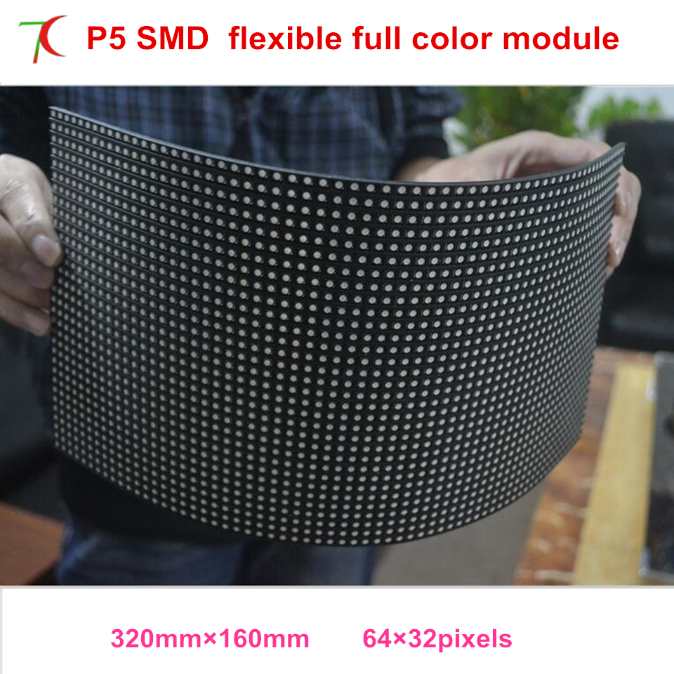 Flexible P5 Smd Indoor 320*160mm Full Color Led Module Widely For Spherical Screen,rhomb Screen,originality Screen,40000dots/sqm