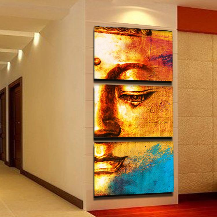 3 Panel Gold Buddha Oil Painting Wall Art Paintings Picture Paiting Canvas Paints Home Decor Painting