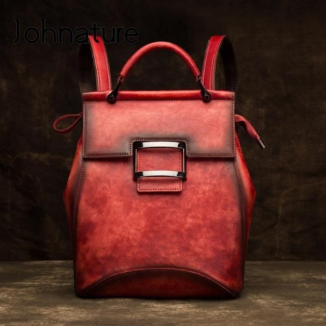 حقيبة جلدية أصلية جديدة من متجر جوهنيتشر لعام 2020 بلون سادة حقيبة ظهر مصنوعة يدويًا من جلد البقر بسعة كبيرة حقائب ظهر نسائية حقائب سفر