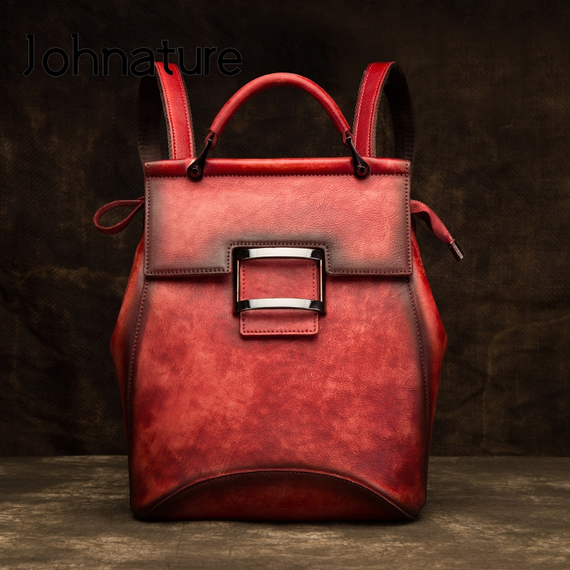 Johnature 2020 New Retro Genuine Leather Solid Color Soft Handle Handmade Cow Leather Large Capacity Women Backpack Travel Bags