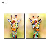 Handpainted Canvas Palette Giraffe Paintings Handmade Abstract Animal Oil Painting For Living Room Home Decor Wall art picture
