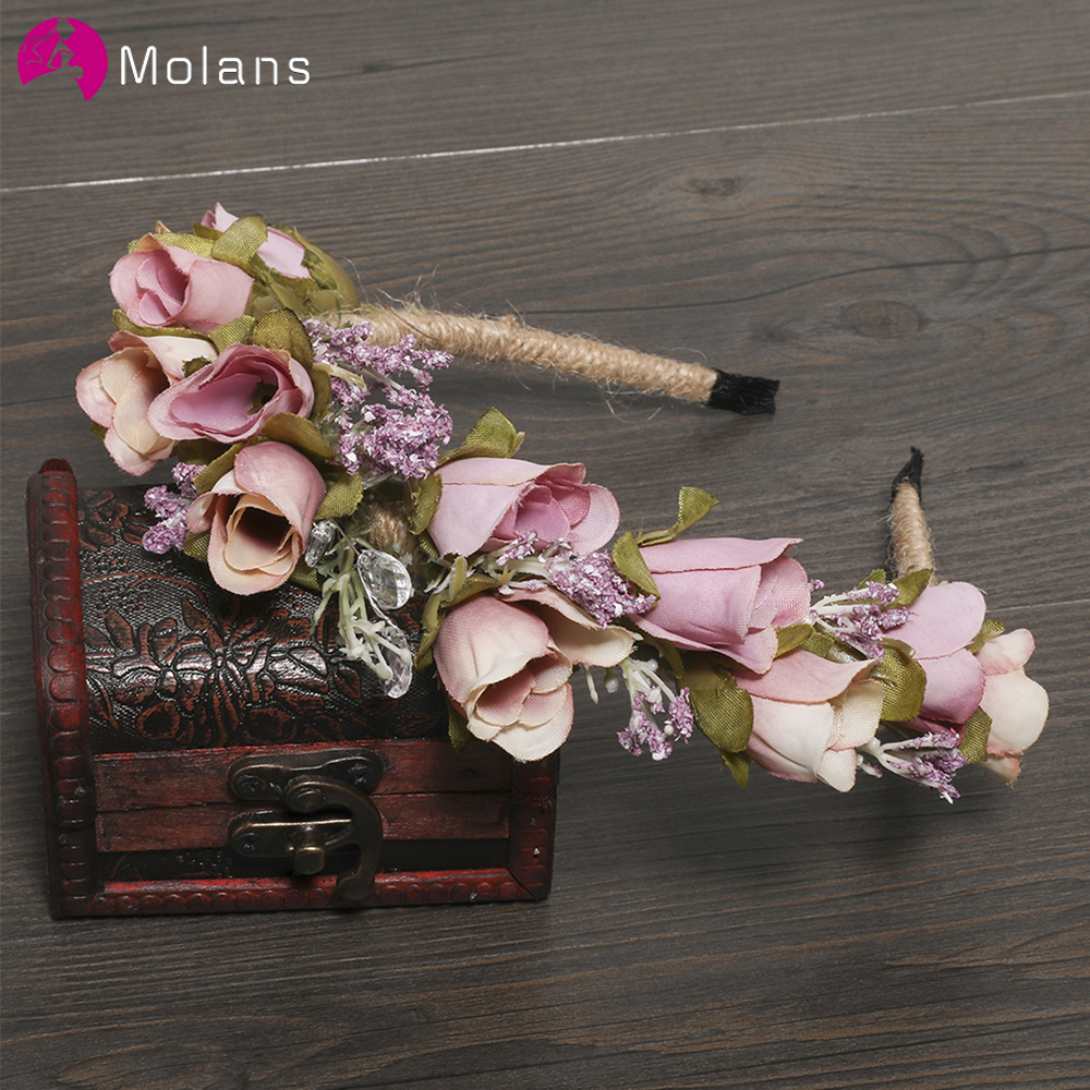 MOLANS Romantic Bride Headwear Flower Crown Headbands For Bridal Wedding Accessories Floral Headbands Photography Headdress