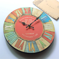ZAKKA Antique Style Home Wall Hanging Clock Newest Digital Art Electronic Clock Wooden Wall Watch for Livingroom Bedroom