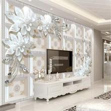 Custom wallpaper three-dimensional embossed jewelry flower modern minimalist TV background wall high-grade waterproof material