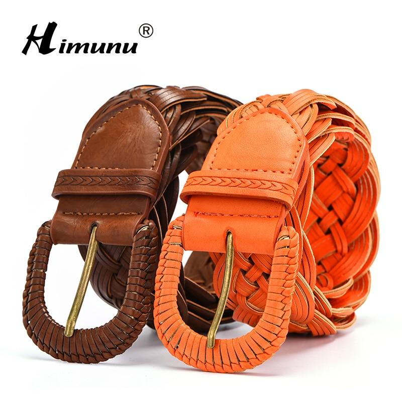 [HIMUNU] European and American style Wide Woman belts Fashion Weave belt for women PU leather Female Belts Brown Orange color