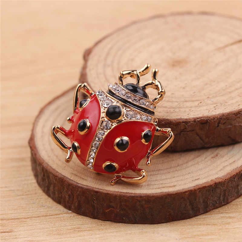 Indah Mata Hitam Merah Enamel Kumbang Ladybug Bentuk Bros Pin untuk Wanita Pakaian Lencana Vintage Brocade Bijoux Pin Logam