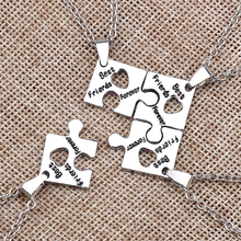 Best Friend Necklace 4 Pieces / Set Of Fashion Letters Sister One Person A Friendship BFF Zinc Alloy Jewelry Gift