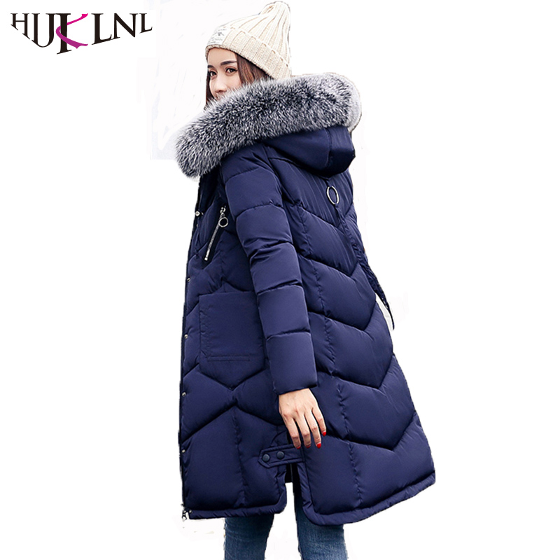HIJKLNL Woman Winter Coats and Jackets 2017 Long Thick Hooded Jacket Fur Collar Side Split Padded Parka Mujer Plus Size NA403 e artist men s long winter jacket velvet padded jackets trench coats parka thick fit casual outdoor black wine plus size 5xl a65