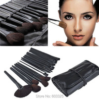 Brand New Free Shipping 32 Pcs Professional Makeup Brushes Cosmetic Set Black Leather Bag