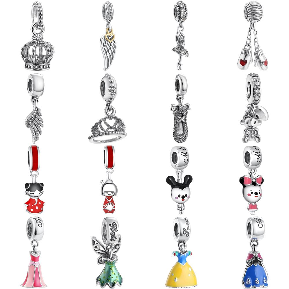WYBEADS 925 Sterling Silver Minnie Charms Princess Dress Pendant European Bead Fit Bracelet & Necklace DIY Accessories Jewelry