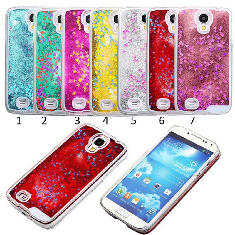 For S4 Transparent Dynamic Liquid Glitter Paillette Sand Quicksand Star Back Cover Case For Samsung Galaxy S4 i9500 Phone cases