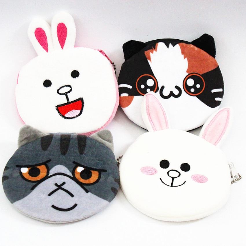 M061 Cute Cartoon Women Purses Plush Coin Purse Smiling Rabbit Wronged Cat Happy Cat Laughing Rabbit Pendant Wallet cat stevens cat stevens laughing apple