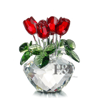 H&D Red Rose Figurine Ornament Spring Bouquet Crystal Glass Flowers Gift Boxed