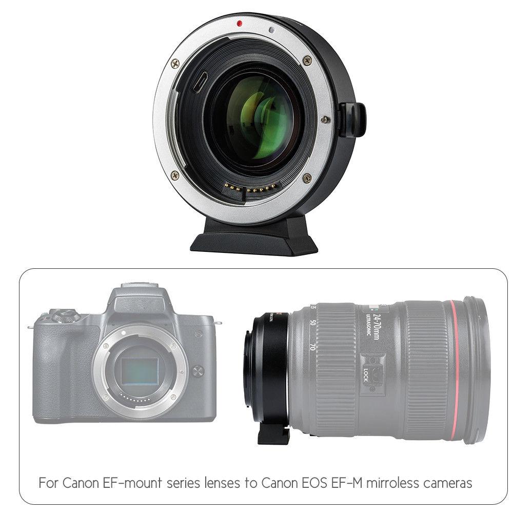 Nouveau EF-EOS en métal M2 0.71x adaptateur de monture d'objectif pour CANON EOS M/M2/M3/M5/M6/M 10/M50/M100 caméra
