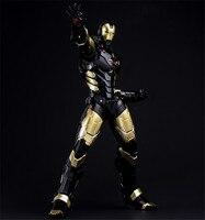 HC Marca Iron Man MK 42 ORO NEGRO con Luz LED PVC Figura de Acción de Colección Modelo de Juguete 28 cm