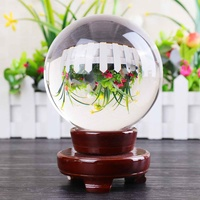 11CM Photography Crystal Round Seed Beads Feng Shui Clear Color Magic Natural Glass Balls For Home Decoration With Wooden Stand