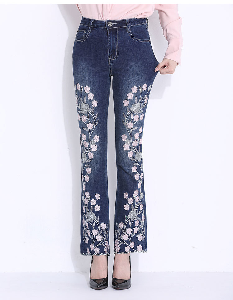KSTUN Women's Jeans New Arrivals High Waist Folk Style Flare Pants Embroidered Floral Pattern Stretch Yong Girls Femme Big Size 16