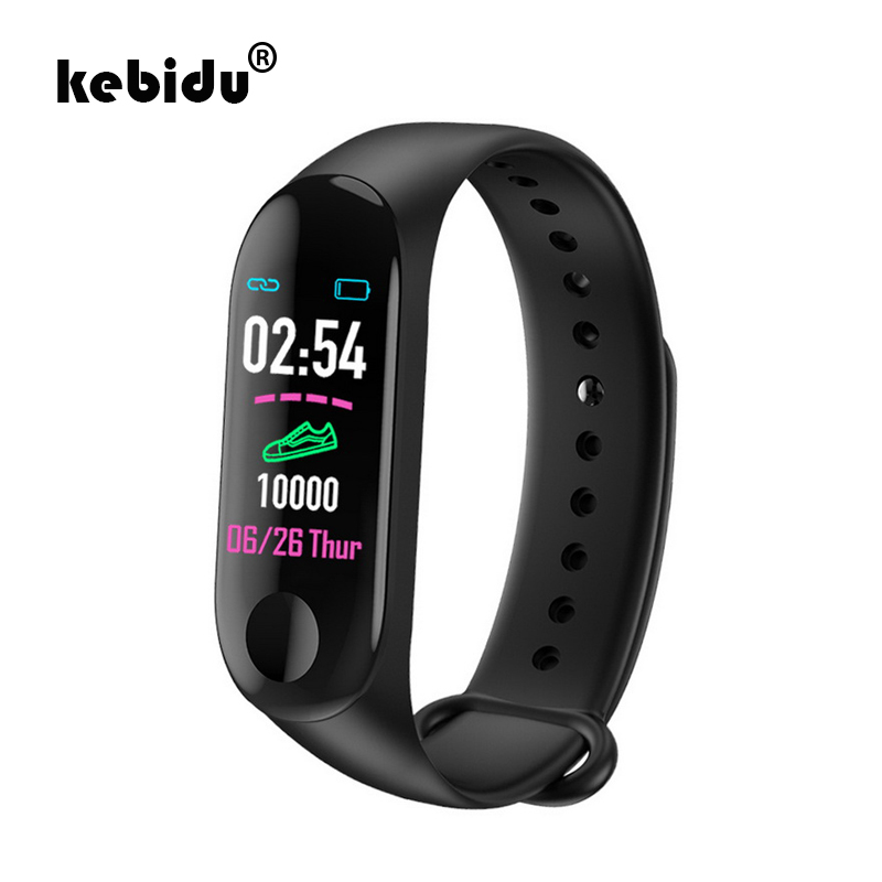 kebidu M3 Fitness Smart Bracelet Blood Pressure & Heart Rate Monitor Colorful Touch Screen Smart Band Wristband Step Counter