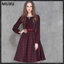 MUXU autumn dress sexy plaid vintage dress long sleeve women ropa mujer vetement femme red women
