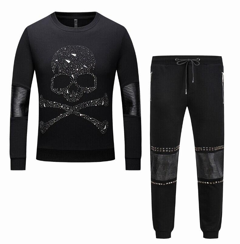 Pur coton Hommes Survêtements avec Pantalon Ensemble Épaissir conception d'hiver Mâle Automne Deux Pièces