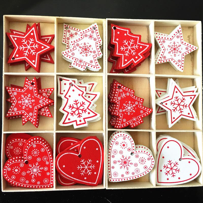 New Year 2020 Christmas Snowflake Wooden Pendant Xmas Tree Decorations for Home Wood Hanging Crafts Navidad 2019 Noel Natal Deco 14