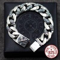 S925 Стерлинговое серебро мужской браслет индивидуальность Классический Панк стиль хип хоп domineering крест ювелирные изделия моделирование отп
