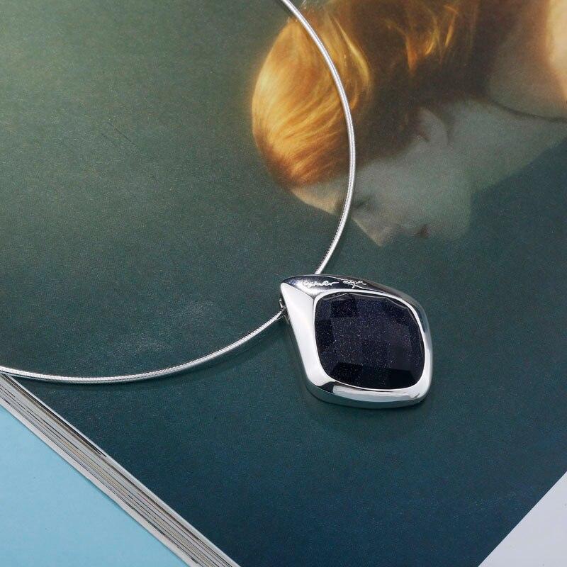 SA SILVERAGE 925 Sterling Argent collier ras du cou Noir Aventurine Tour de Cou Colliers bijoux fins Pour Femmes 12.58g/45mm * 30mm - 3