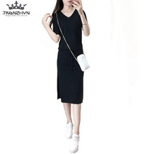087e258653cf tnlnzhyn 2019 Spring Summer Women Knitted Suit Solid black 2 pieces Set Suit  Dress Casual Pockets ladies Skirts Sets Y270 -in Women s Sets from Women s  ...