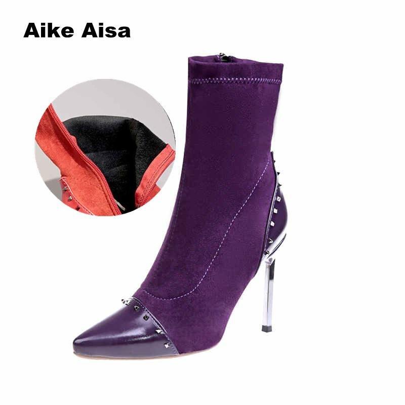 Señoras Invierno Black Estilete Estrecha Mujeres Tejido purple De Zapatos Deslizamiento Tobillo Elástico Tacones Calcetín 2019 red Bombas En 10 Mujer Las Botas Cm Punta HF6qUFW1