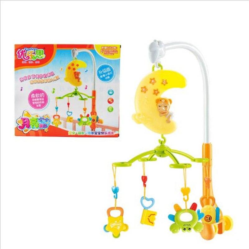 Bebê Chocalhos Jingle Sino Música Rotativa Cama Educação Precoce Da Lua Sinos Tocando 1-2 Anos de Idade Das Crianças Das Crianças Colorido plástico