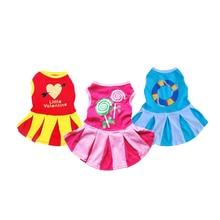 Красный, желтый и синий 3 хлопковая, для домашней собаки Летнее платье pet одежда мини юбка чирлидерская юбка