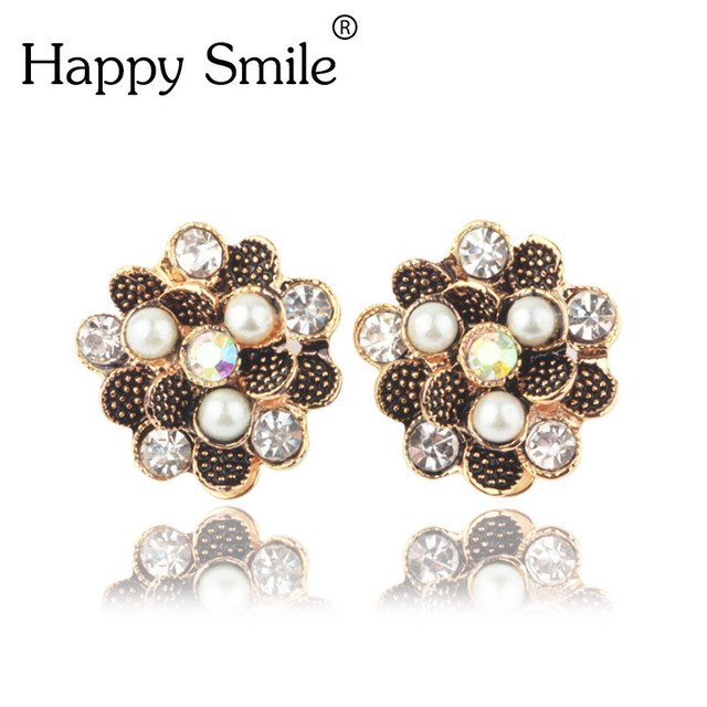 Flower Style Women S Earrings Clips Plated Gold Clip On Simulated Pearl Ear Without