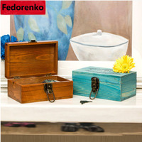 Zakka Groceries Solid Wood Lock Desktop Storage Box Secret Diary Letters Storage Box Jewelry Wooden Boxes
