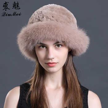 Real Rex Rabbit Fur Knitted Hat Luxury Natural Fox Fur Trim Hats Fur Bucket Hat Russian Female Solid Women\'s Winter Cap Ladies