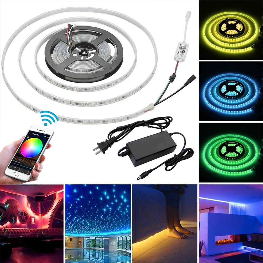 12 V étanche 5 M 5050 RGB 1903 IC LED bande lumineuse + adaptateur + contrôleur de minuterie Wifi intelligent pour Amazon Alexa Google Home IFTTT