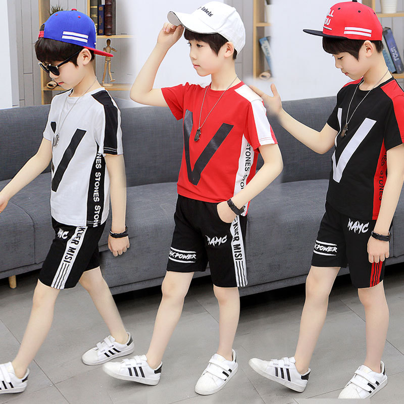 Kids Clothes Boys Clothes Sets 2019 Summer Clothing Set Children Outfits V T-shirt + Shorts 2 3 4 5 6 7 8 9 10 11 12 13 Years