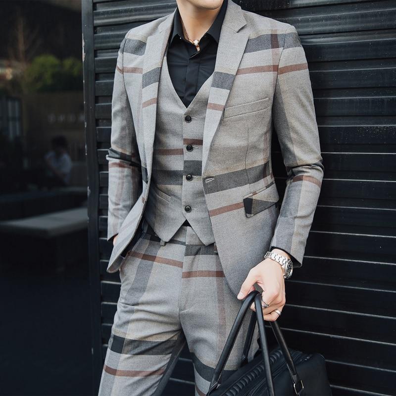 British Men's Plaid Striped Suit Set Three-piece, Slim Fashion Wedding Banquet Stage Dress, Casual Business Large Size Suit 5XL